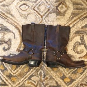 Frye Square Toe Circle Harness Boots